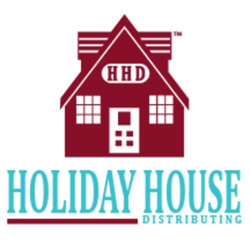 Holiday House Logo. Red house with blue lettering below