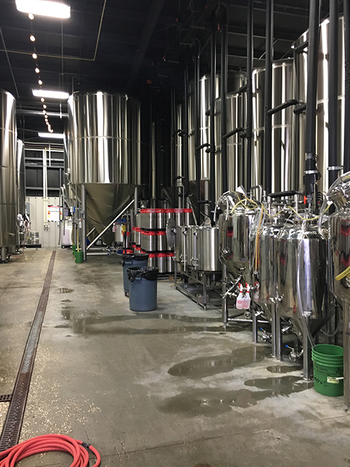 A shot of the all the brewing vats for Tampa Bay Brewing Co.
