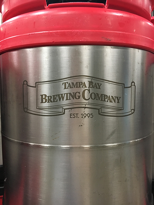 Close up of the Tampa Bay Brewing Co. logo on a keg